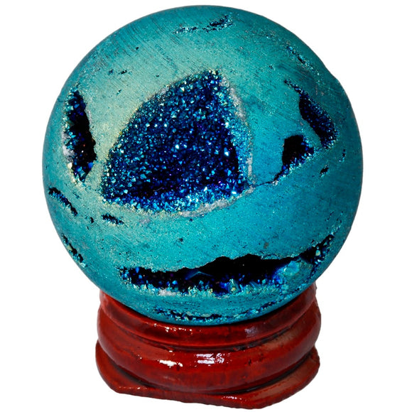 TUMBEELLUWA Light Blue Titanium Coated Druzy Agate Geode Sphere Ball Divination Reiki Healing Figurine With Wood Stand
