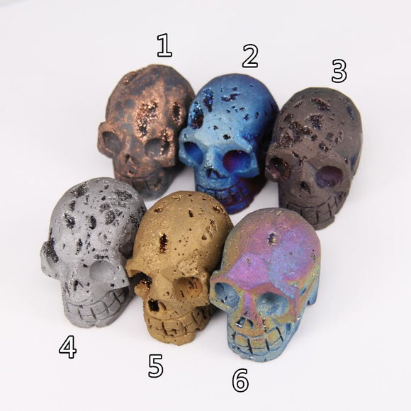 1pcs Sale,more color choice,Carving Skull Head Titanium Druzy Aagte Skull,Raw Drusy Geode Sculpture Skull,Large Skull DIY Decor