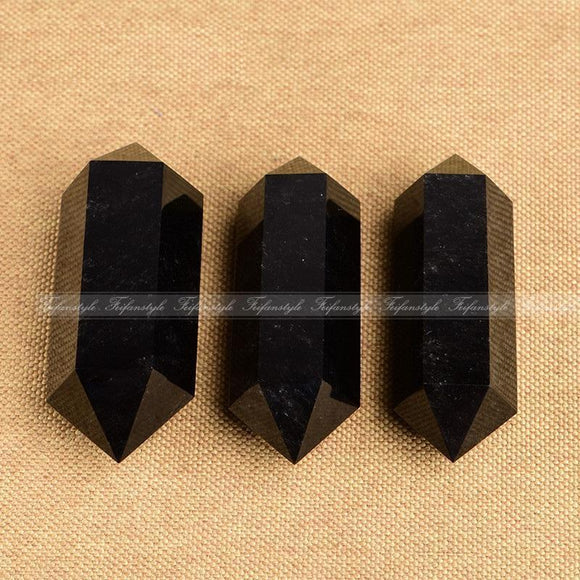 Black obsidian Natural Healing Crystal Quartz Double Point Cure Gemstone Feifan style natural stones and minerals