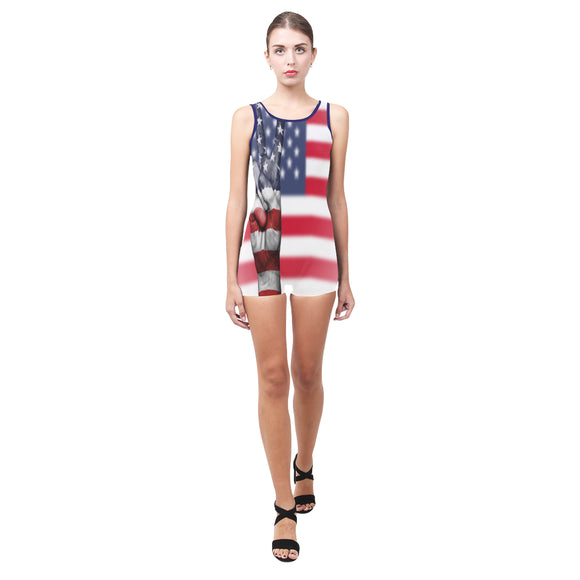 Swimsuit One Piece Boyleg Peace USA - Womens (4 colors)