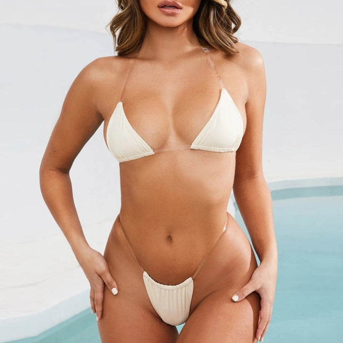 Sheer Straps Slide Triangle Brazilian Two Piece Bikini Swimsuit