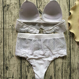 Scallop High Waist Triangle Brazilian Two Piece Bikini Swimsuit