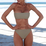 Solid Color Bandeau Brazilian Two Piece Bikini Swimsuit