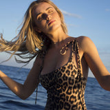 Lace Up Wild Leopard Brazilian One Piece Swimsuit