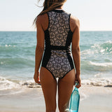 Retro Print Zippered Brazilian One Piece Swimsuit