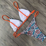 Bohemian Printed String Sliding Triangle Brazilian Two Piece Bikini Swimsuit