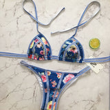 Refresh Floral Strappy Sliding Triangle Brazilian Two Piece Bikini Swimsuit