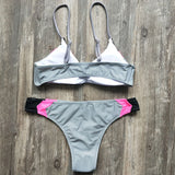 Color Block Ruched Bralette Brazilian Two Piece Bikini Swimsuit