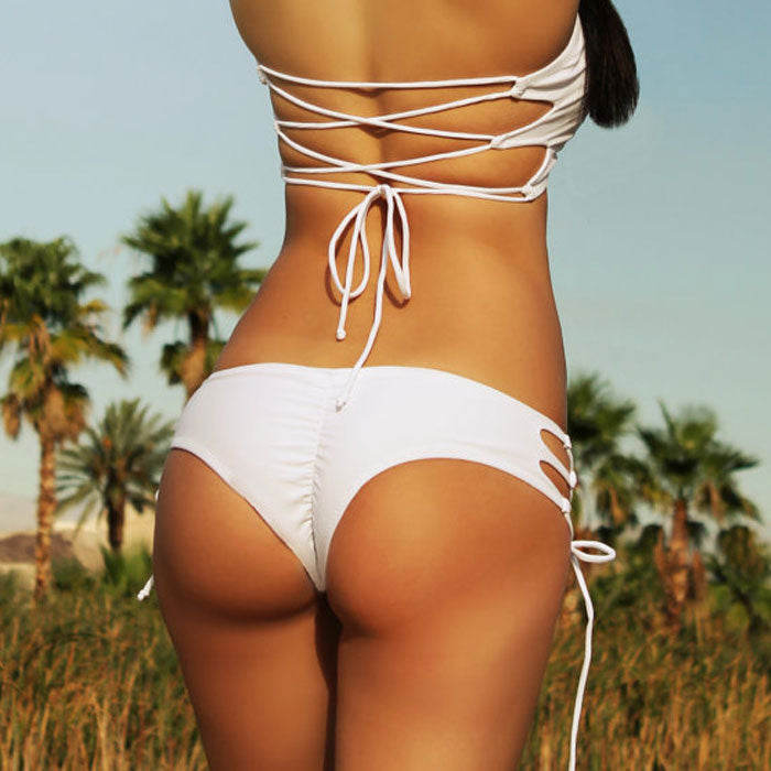 Lace Up Side Cheeky Brazilian Bikini Bottom