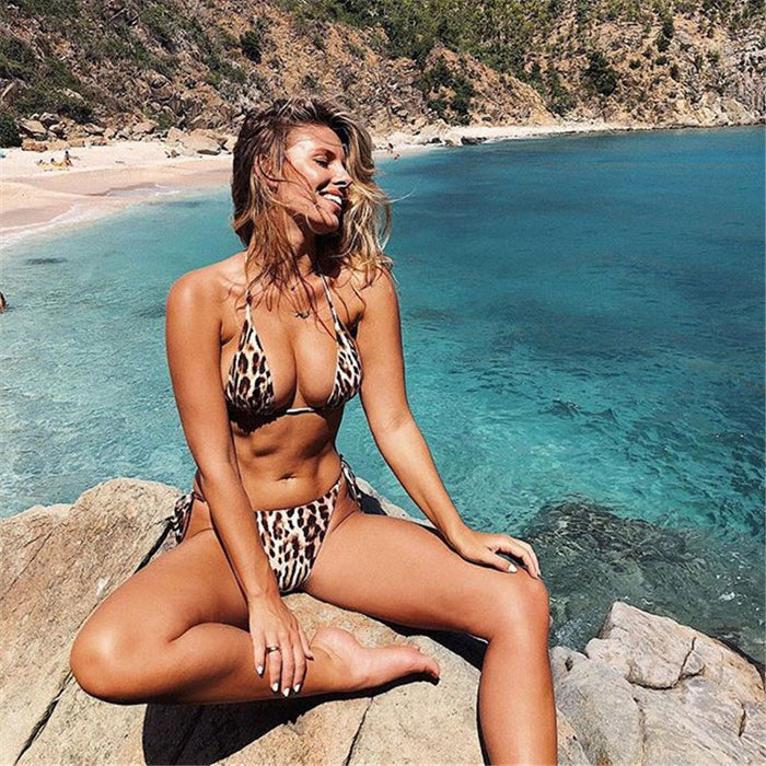 Leopard Tie Side String Slide Triangle Thong Brazilian Two Piece Bikini Swimsuit
