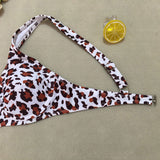 Leopard High Leg Thong Underwire Brazilian Two Piece Bikini Swimsuit