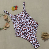 Leopard Cross Straps Open Back High Leg Brazilian One Piece Swimsuit