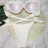 Ruffle Low Rise Push Up Bandeau Brazilian Two Piece Bikini Swimsuit