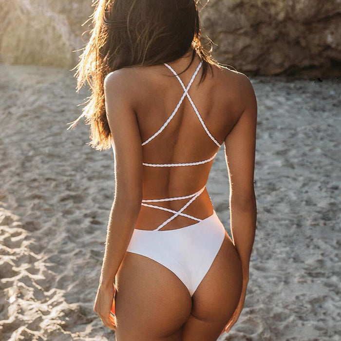 Solid Strappy Brazilian Style One Piece Swimsuit