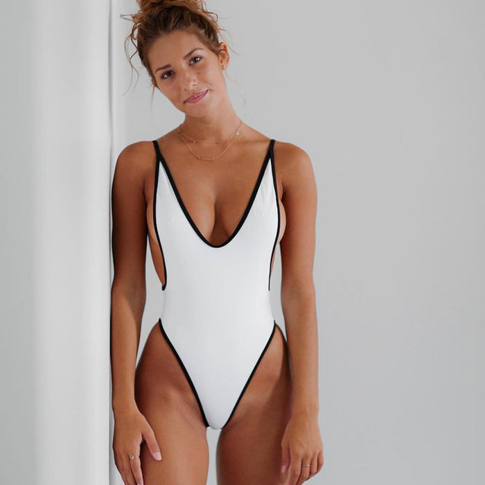 Contrast Binding Low Back High Leg One Piece Brazilian Swimsuit