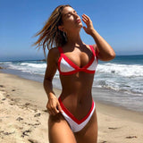 Contrast Color High Leg Triangle Brazilian Two Piece Bikini Swimsuit