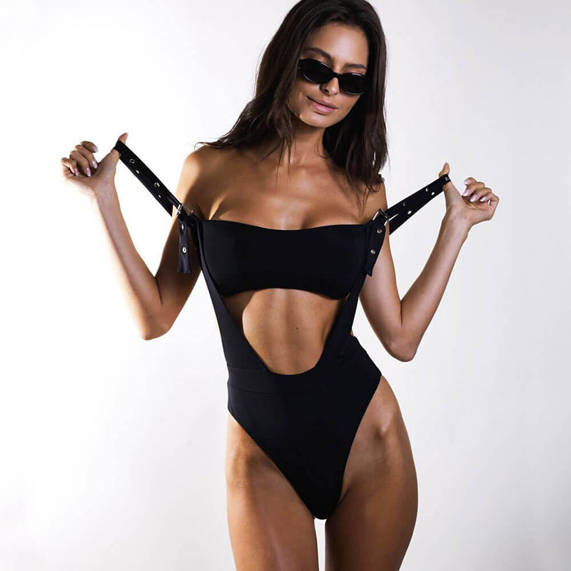 Eyelet Straps High Leg Cutout Brazilian One Piece Swimsuit