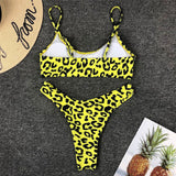 Leopard High Leg Bralette Brazilian Two Piece Bikini Swimsuit