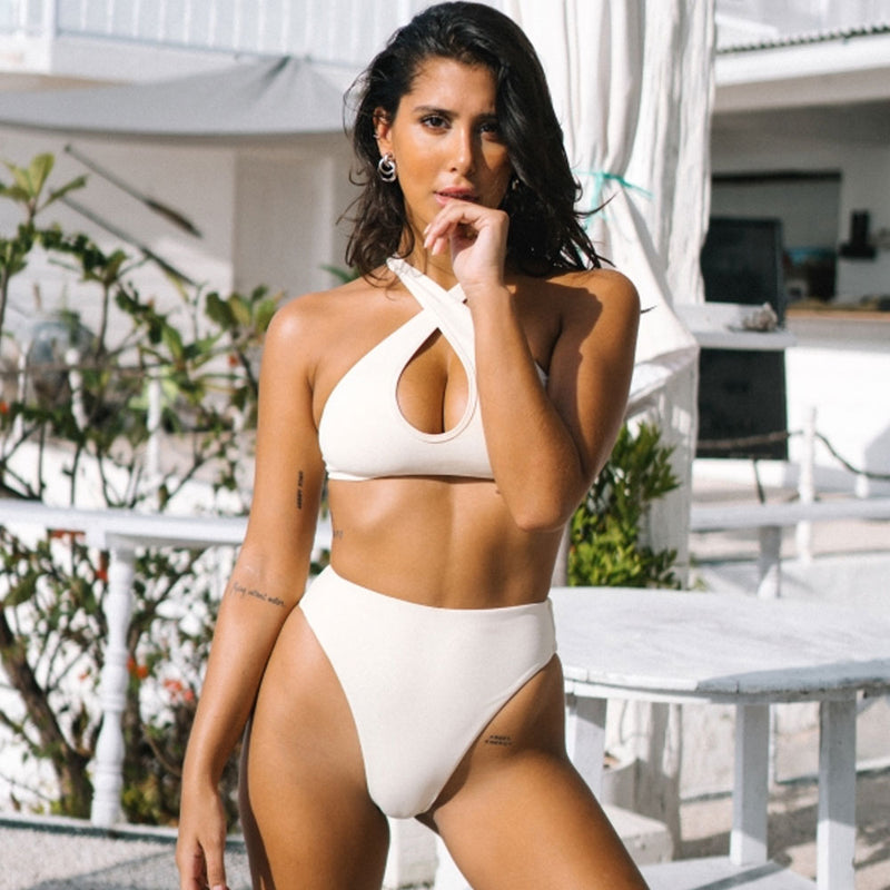 Active High Cut High Waist Cross Front Brazilian Two Piece Bikini Swimsuit