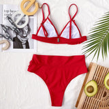 Adorable High Waist Ruffle Triangle Brazilian Two Piece Bikini Swimsuit