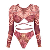 African Tribal Print Sleeved Brazilian Two Piece Bikini Swimsuit