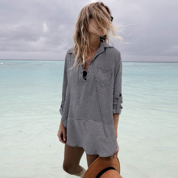 Asymmetric Lace Up Stripe Brazilian Beach Cover Up