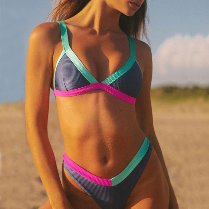 Athletic Contrast Ribbed High Cut Triangle Brazilian Two Piece Bikini Swimsuit