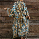 Belted Geometric Print Sleeved Maxi Brazilian Beach Cover Up