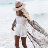 Boho Print Half Sleeve Chiffon Maxi Brazilian Beach Cover Up