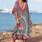 Boho Print V Neck Batwing Sleeve Maxi Brazilian Beach Cover Up