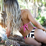 Braided Striped Slide Triangle Brazilian Two Piece Bikini Swimsuit