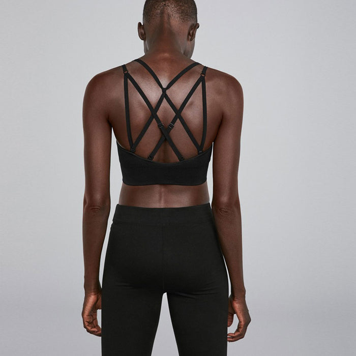 Breathable Strappy Textured Brazilian Sport Bra