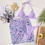Butterfly String Slide Triangle Brazilian Three Piece Bikini Swimsuit