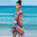 Colorful Scalloped Sleeved Floral Crochet Brazilian Beach Cover Up