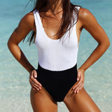 Contrast Low Back Ribbed Brazilian One Piece Swimsuit