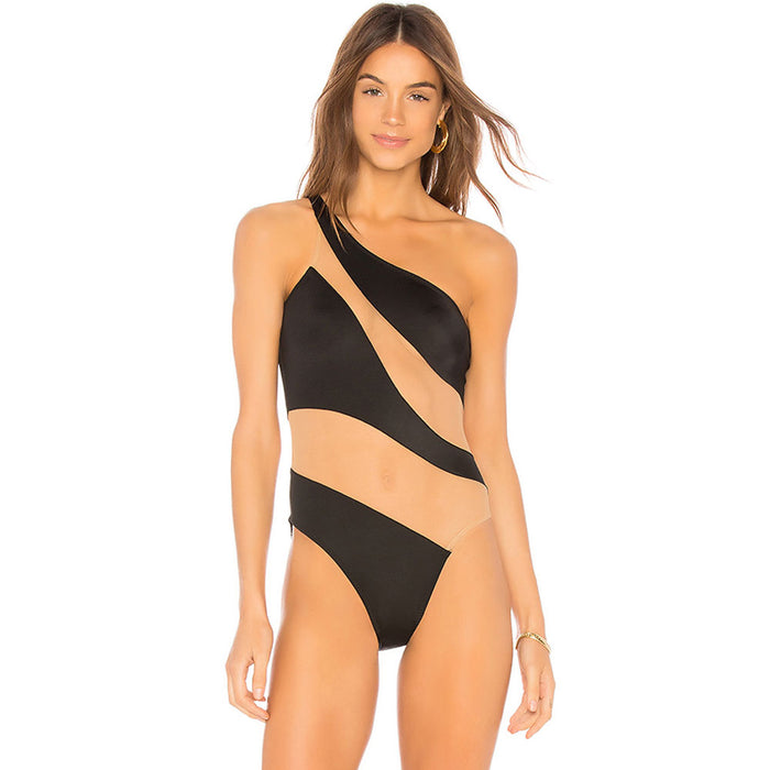Contrast Mesh Panel One Shoulder Brazilian One Piece Swimsuit