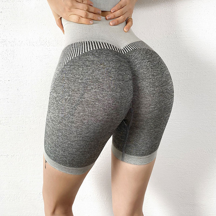 Contrast Stripe Textured High Waist Brazilian Workout Shorts