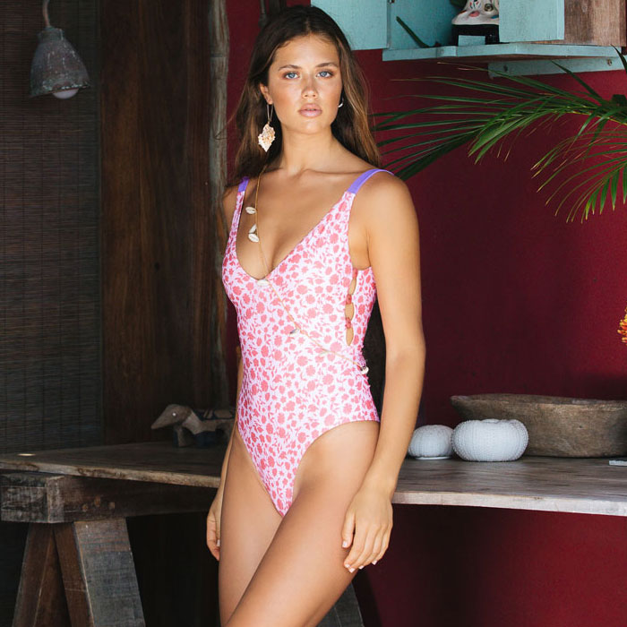 Ditsy Floral Button Side Low Back Brazilian One Piece Swimsuit