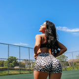 Fitted Leopard High Waist Brazilian Workout Shorts