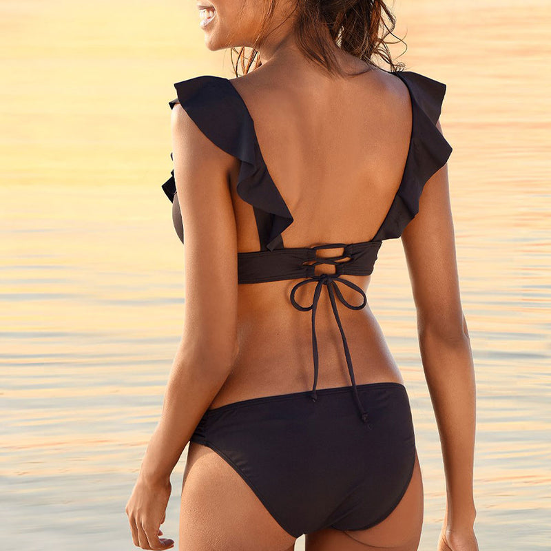 Flirty Lace Up Back Ruffle Deep V Brazilian Two Piece Bikini Swimsuit