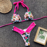 Floral High Leg Slide Triangle Halter Brazilian Two Piece Bikini Swimsuit