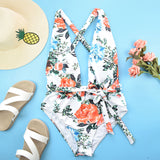 Floral Low Back Self Tie Plunging V Brazilian One Piece Swimsuit