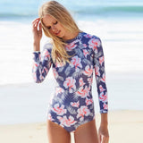 Floral Print Long Sleeve Rash Guard One Piece Swimsuit