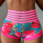 Floral Print Ruched Pocket High Waist Brazilian Workout Shorts