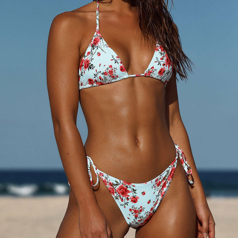 Floral String Slide Triangle Brazilian Two Piece Bikini Swimsuit