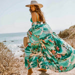 Flowy Belted Floral Print Sleeved Maxi Brazilian Beach Cover Up