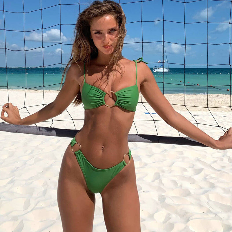 Gold Ring Tie Back Scrunch Brazilian Two Piece Bikini Swimsuit