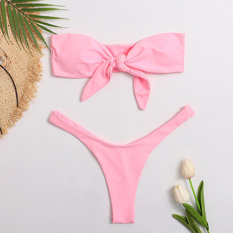 High Cut Knotted Bandeau Thong Brazilian Two Piece Bikini Swimsuit