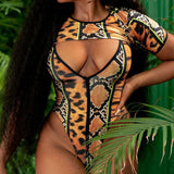 High Cut Leopard Sleeved V Neck Brazilian Two Piece Swimsuit