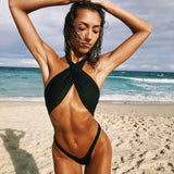 High Cut Low Back Wrap Front Halter Brazilian One Piece Swimsuit
